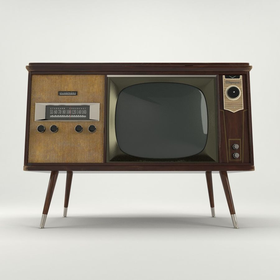 Vintage Olympic TV Console royalty-free 3d model - Preview no. 3