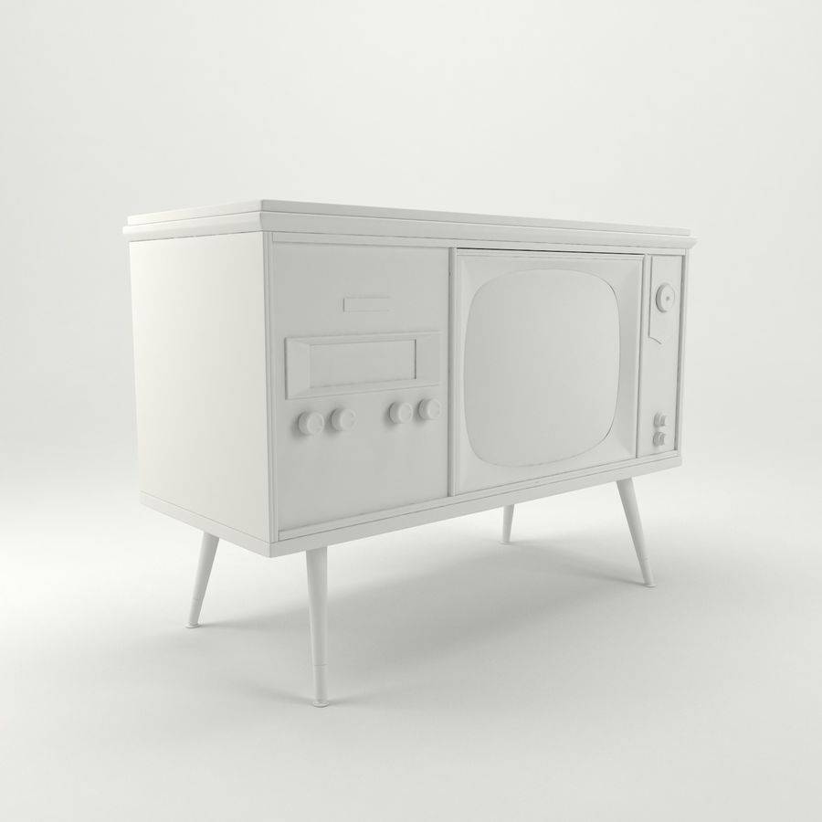 Vintage Olympic TV Console royalty-free 3d model - Preview no. 12