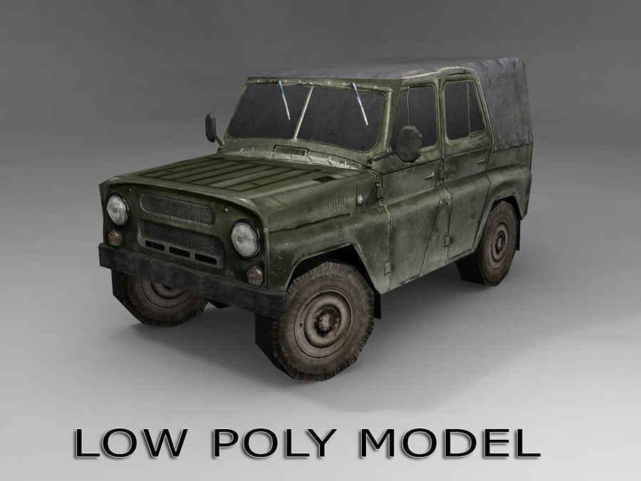 Laag poly Uaz-469 royalty-free 3d model - Preview no. 1