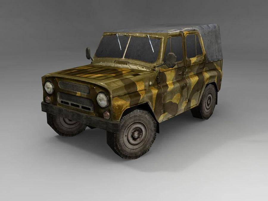 Laag poly Uaz-469 royalty-free 3d model - Preview no. 2