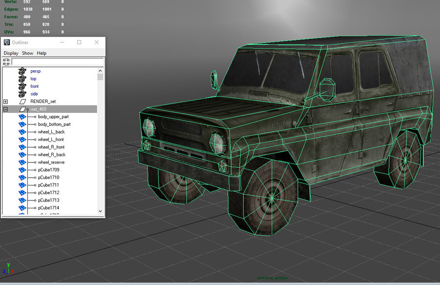 Laag poly Uaz-469 royalty-free 3d model - Preview no. 7