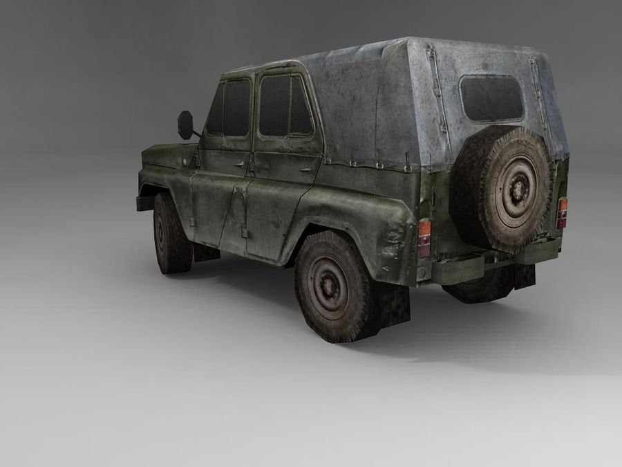 Laag poly Uaz-469 royalty-free 3d model - Preview no. 4