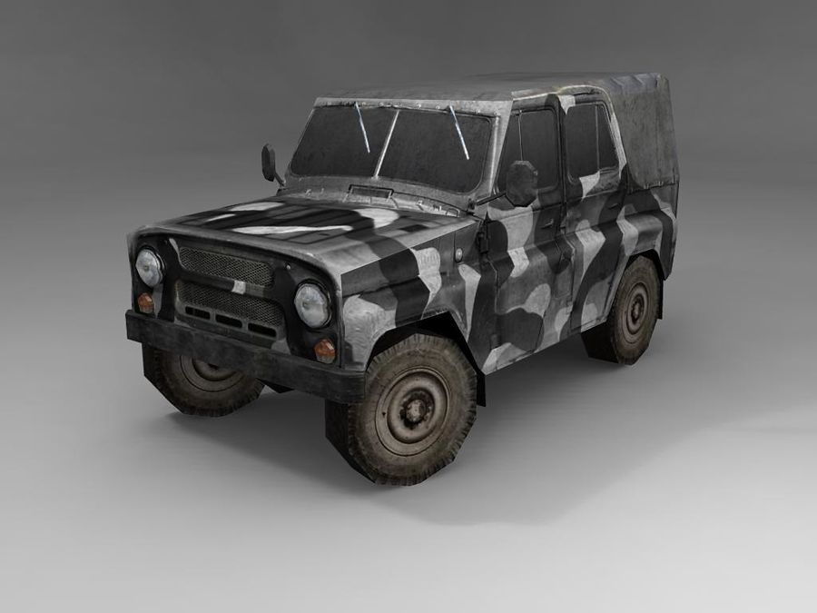 Laag poly Uaz-469 royalty-free 3d model - Preview no. 3