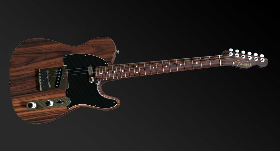 Fender Rosewood Telecaster royalty-free modelo 3d - Preview no. 3