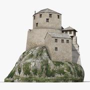 Oud kasteel op de heuvel 3d model