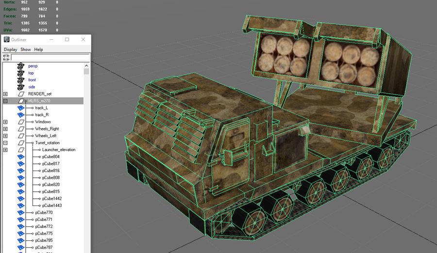 Low Poly MLRS m270 royalty-free 3d model - Preview no. 4