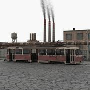 Old Abandoned Tram and Factory Scene 3d model