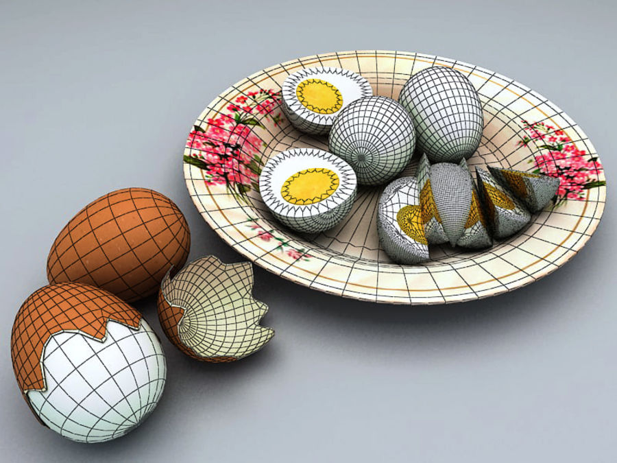 Boiled Egg royalty-free 3d model - Preview no. 3