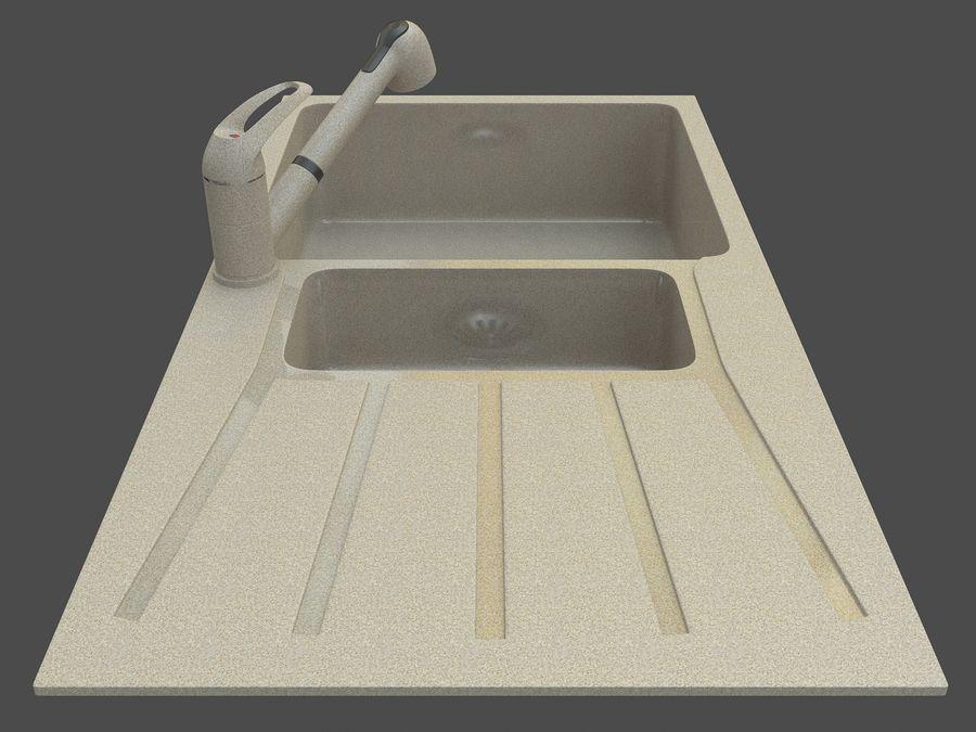 Évier avec robinet royalty-free 3d model - Preview no. 2