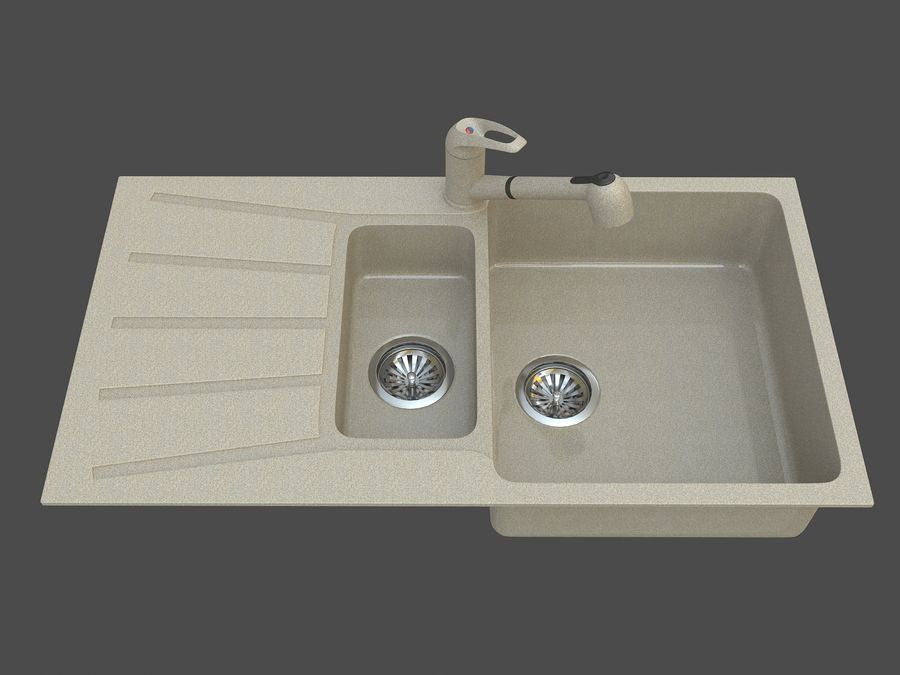 Évier avec robinet royalty-free 3d model - Preview no. 3