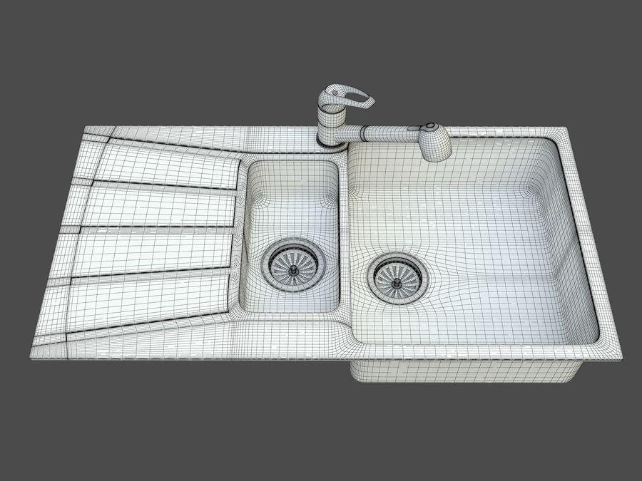 Évier avec robinet royalty-free 3d model - Preview no. 8