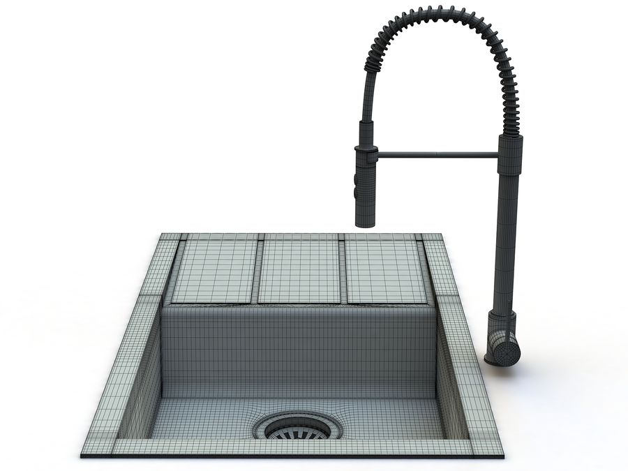 Lavello con rubinetto royalty-free 3d model - Preview no. 12