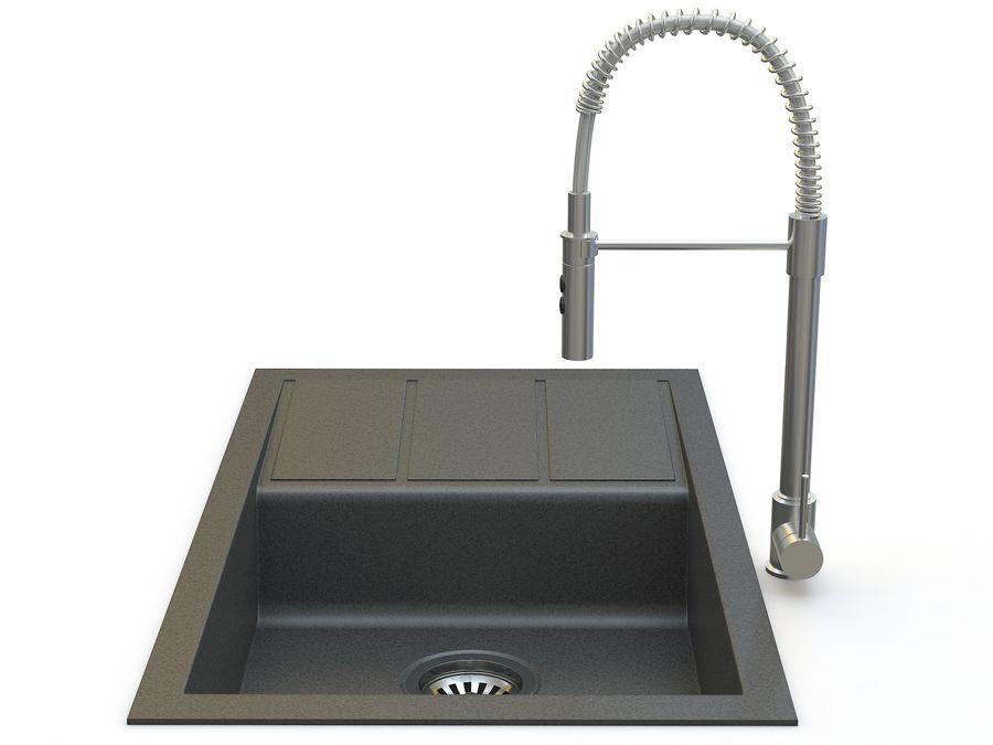 Lavello con rubinetto royalty-free 3d model - Preview no. 4
