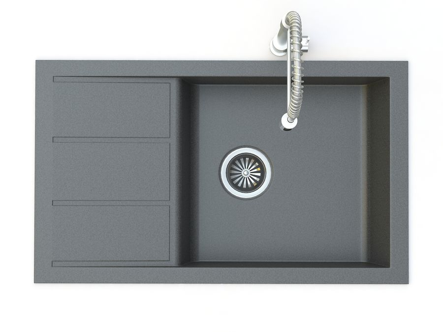 Lavello con rubinetto royalty-free 3d model - Preview no. 5