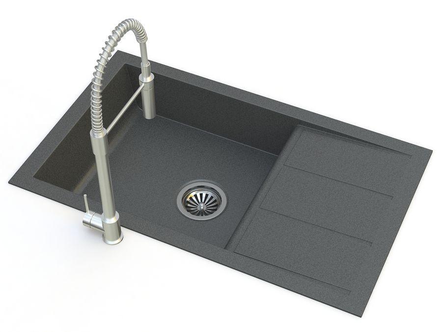 Lavello con rubinetto royalty-free 3d model - Preview no. 6