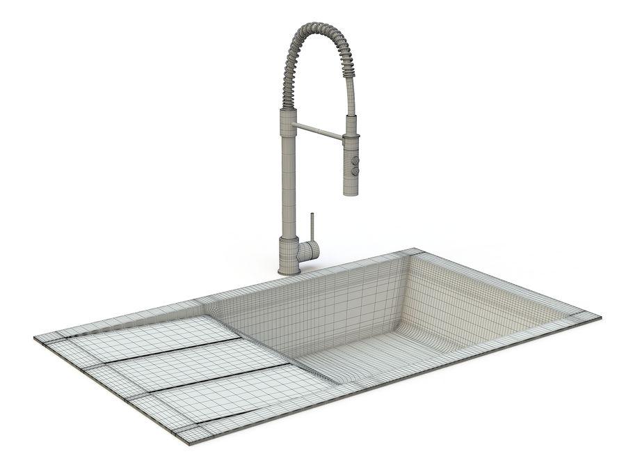 Lavello con rubinetto royalty-free 3d model - Preview no. 9