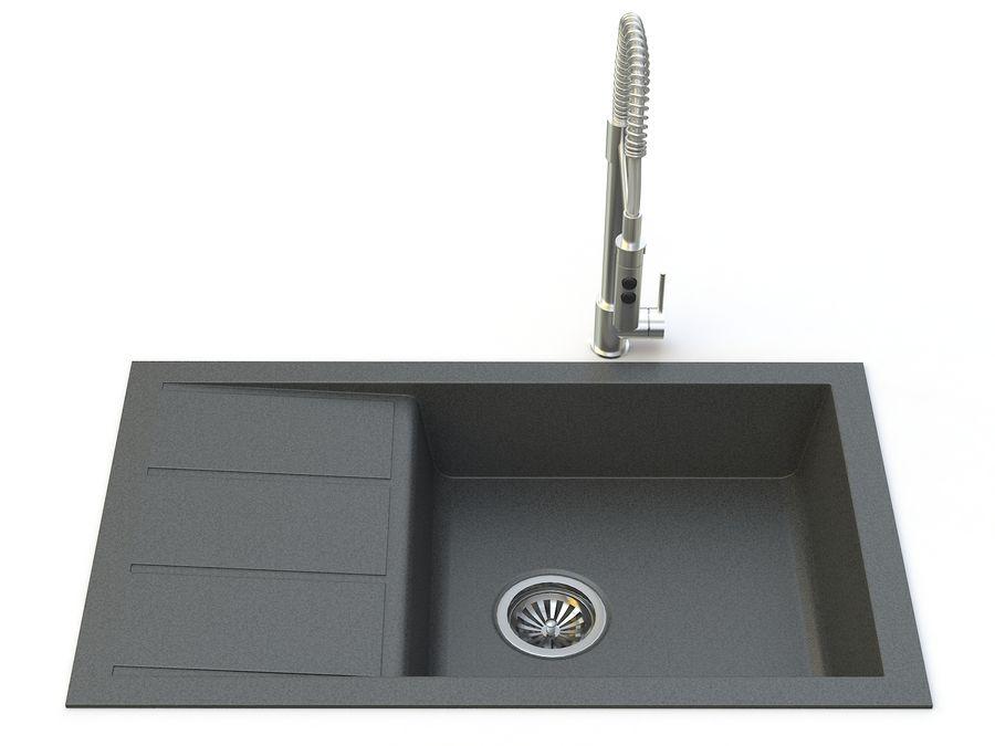 Lavello con rubinetto royalty-free 3d model - Preview no. 3