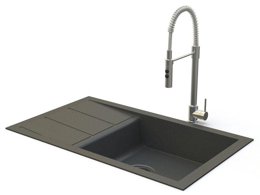 Lavello con rubinetto royalty-free 3d model - Preview no. 2