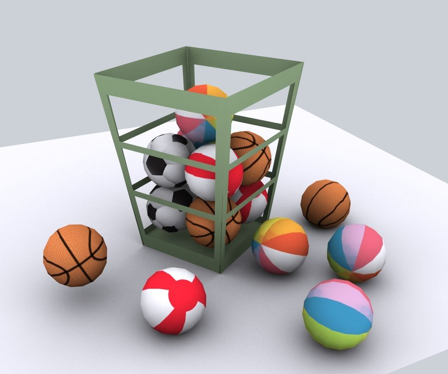 Balls - lowpoly royalty-free 3d model - Preview no. 3