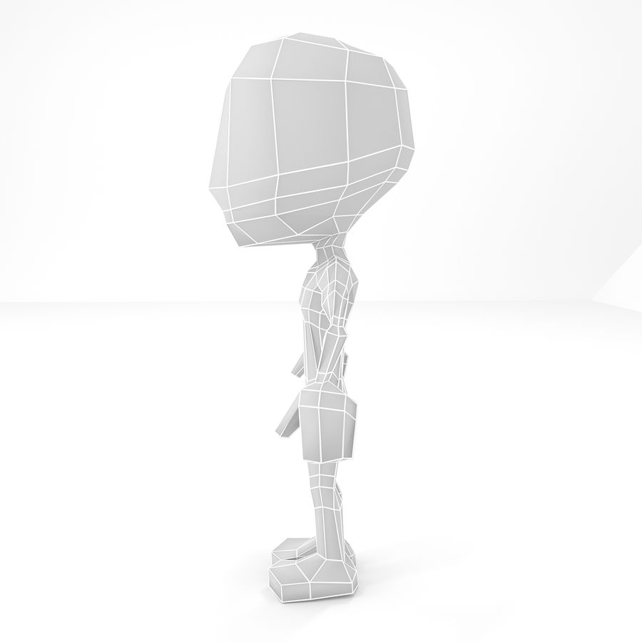 Mannelijke Chibi Lowpoly Character Base Mesh royalty-free 3d model - Preview no. 3