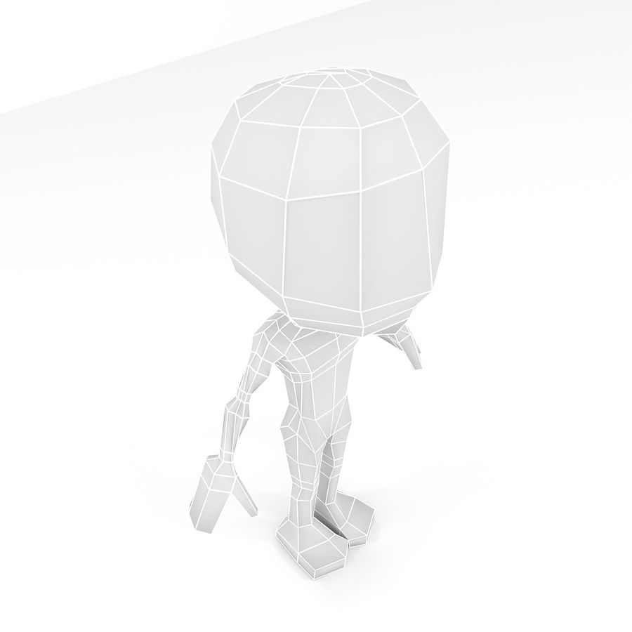 Mannelijke Chibi Lowpoly Character Base Mesh royalty-free 3d model - Preview no. 6