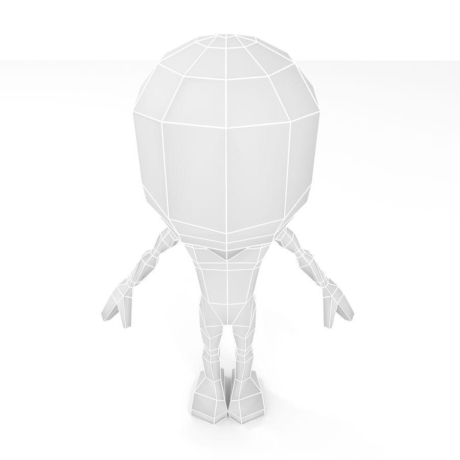 Malla de base de personaje Chibi Lowpoly macho royalty-free modelo 3d - Preview no. 5