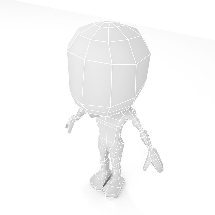 Mannelijke Chibi Lowpoly Character Base Mesh royalty-free 3d model - Preview no. 7