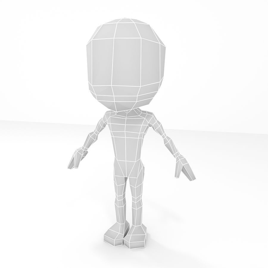 Erkek Chibi Lowpoly Karakter Tabanı Mesh royalty-free 3d model - Preview no. 1