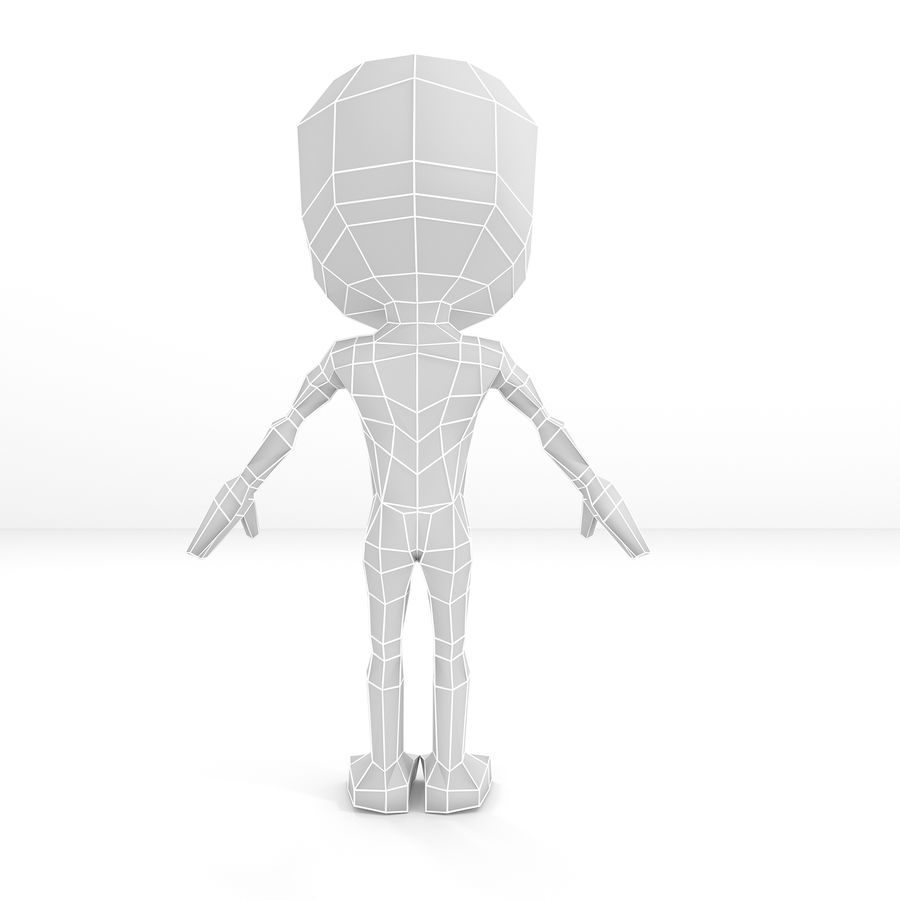 Mannelijke Chibi Lowpoly Character Base Mesh royalty-free 3d model - Preview no. 4