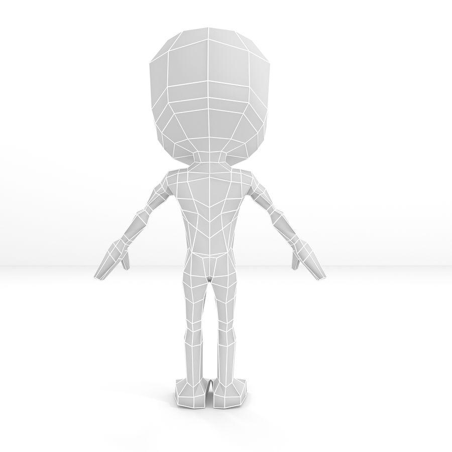 Malla de base de personaje Chibi Lowpoly macho royalty-free modelo 3d - Preview no. 4