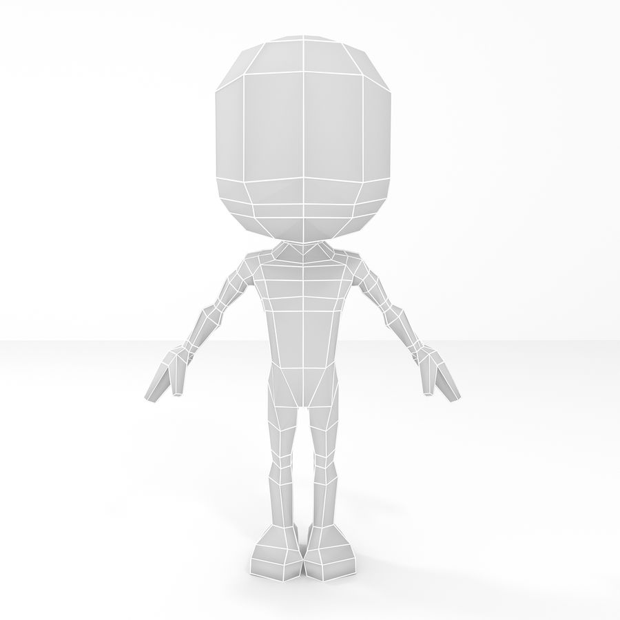 Mannelijke Chibi Lowpoly Character Base Mesh royalty-free 3d model - Preview no. 2
