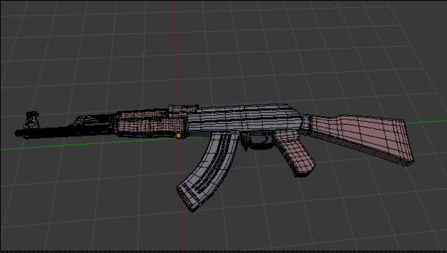 AK 47 royalty-free 3d model - Preview no. 6