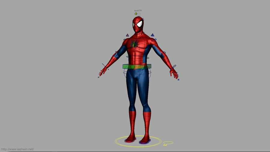 Spider-Man (Rig) royalty-free 3d model - Preview no. 22