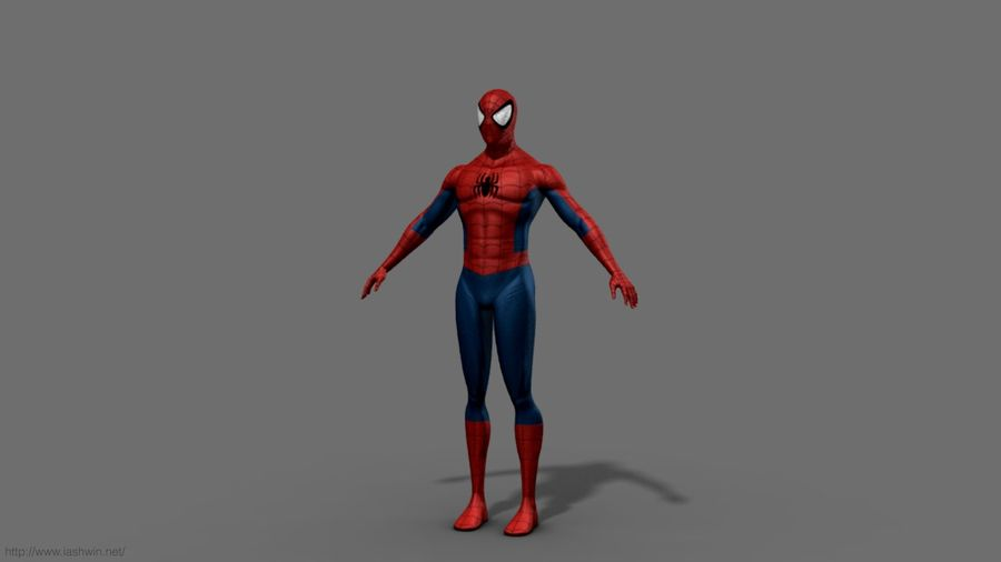Spider-Man (Rig) royalty-free 3d model - Preview no. 4
