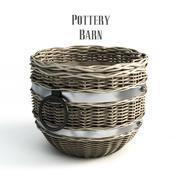 Pottery barn, Cask Round Basket. 3d model