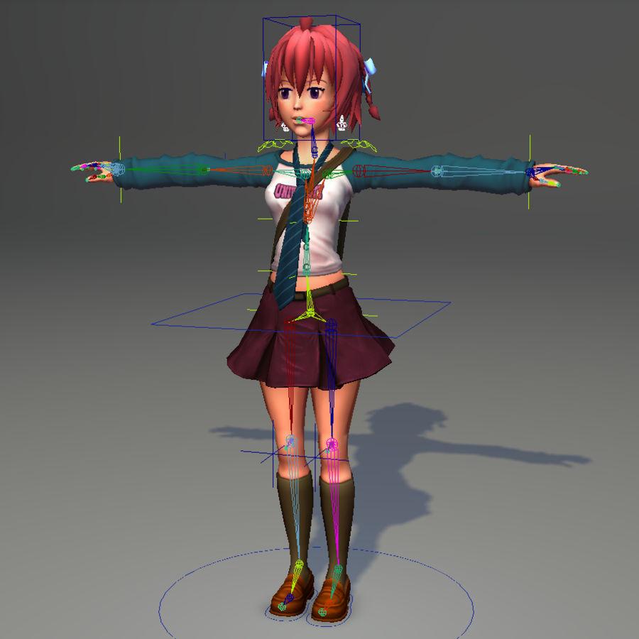 Anime school girl - RIGGED - bajo poli royalty-free modelo 3d - Preview no. 36