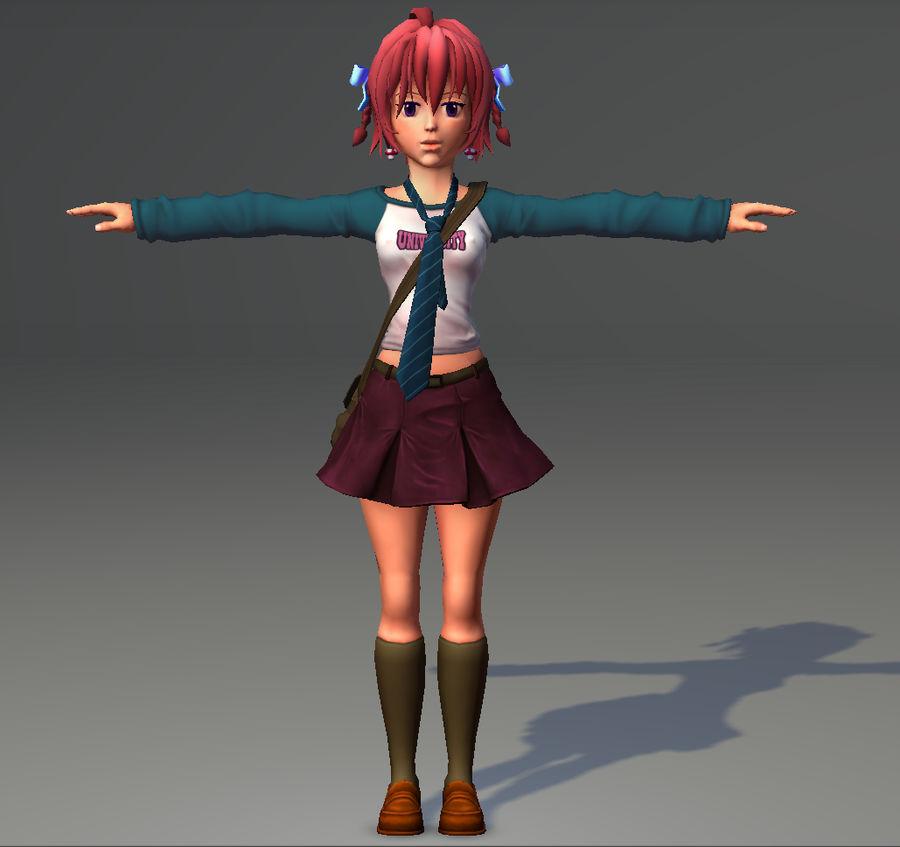 Anime school girl - RIGGED - bajo poli royalty-free modelo 3d - Preview no. 14