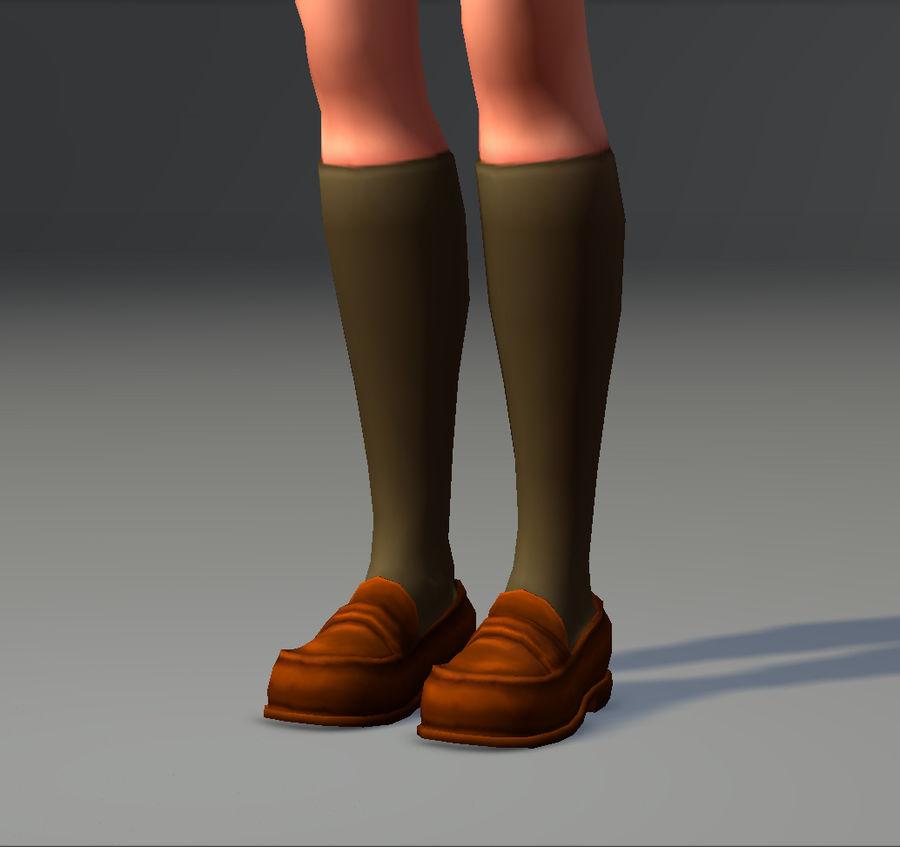 Anime school girl - RIGGED - bajo poli royalty-free modelo 3d - Preview no. 25