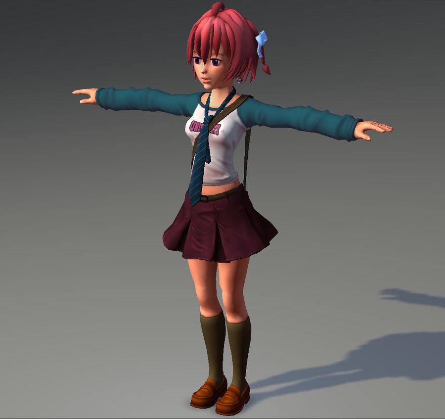 Anime school girl - RIGGED - bajo poli royalty-free modelo 3d - Preview no. 16