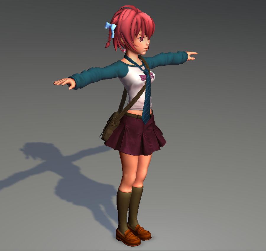 Anime school girl - RIGGED - bajo poli royalty-free modelo 3d - Preview no. 15