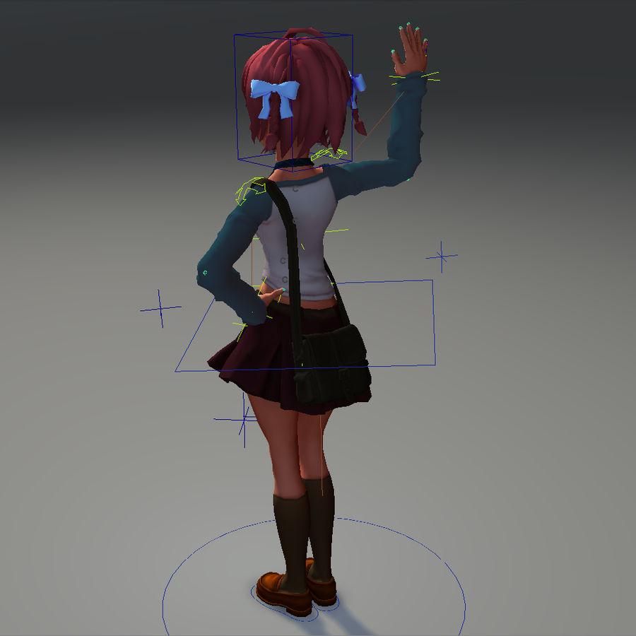 Anime school girl - RIGGED - bajo poli royalty-free modelo 3d - Preview no. 4