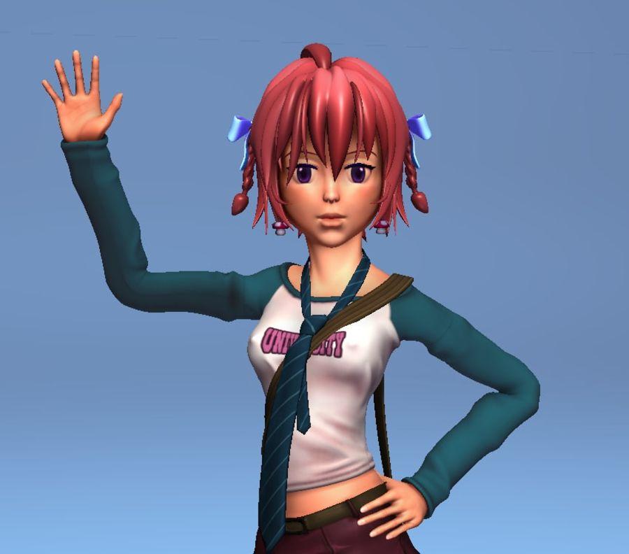 Anime school girl - RIGGED - bajo poli royalty-free modelo 3d - Preview no. 1