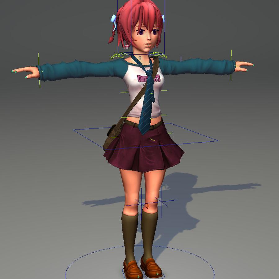Anime school girl - RIGGED - bajo poli royalty-free modelo 3d - Preview no. 10