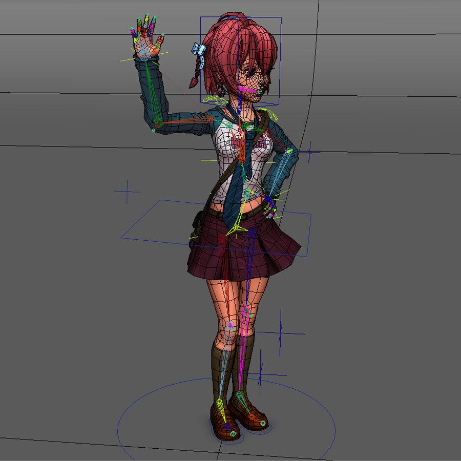 Anime school girl - RIGGED - bajo poli royalty-free modelo 3d - Preview no. 3