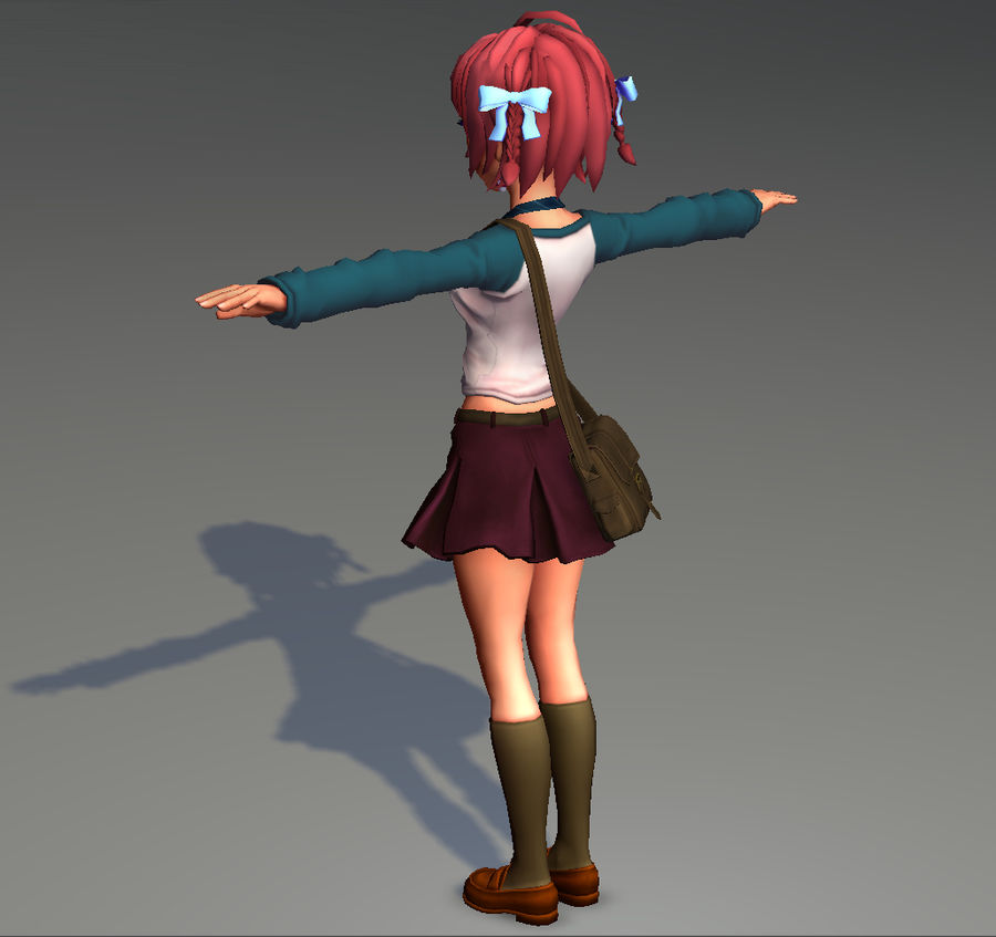 Anime school girl - RIGGED - bajo poli royalty-free modelo 3d - Preview no. 17
