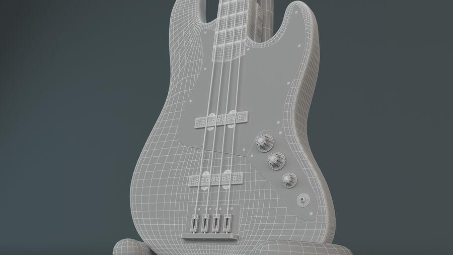 Fender Jazz Bass royalty-free 3d model - Preview no. 5