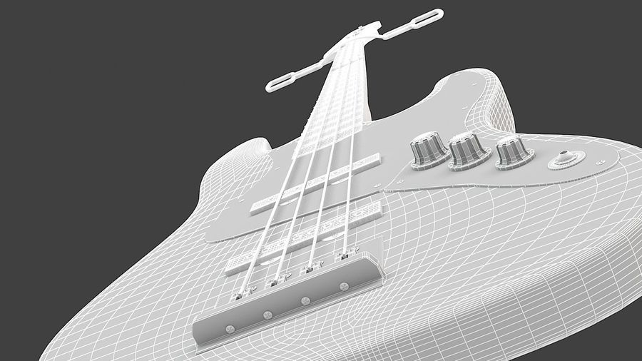 Fender Jazz Bass royalty-free 3d model - Preview no. 9