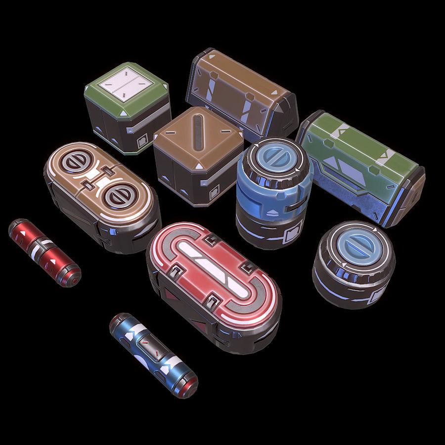 Set di oggetti di scena fantascientifici - Gioco pronto royalty-free 3d model - Preview no. 2