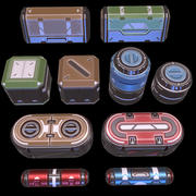 Set di oggetti di scena fantascientifici - Gioco pronto 3d model