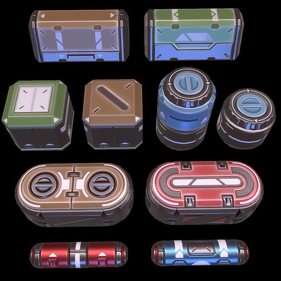 Set di oggetti di scena fantascientifici - Gioco pronto royalty-free 3d model - Preview no. 1